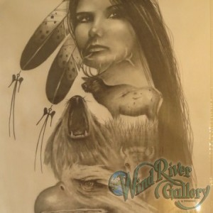 Native Woman with Animal Collage
